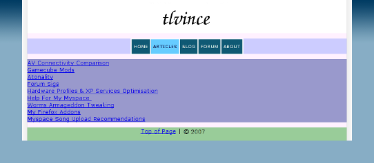 A screenshot of tlvince.com circa Jan 2007